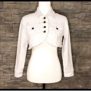White Cut-off Cropped Jean Jacket